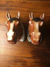 Vintage Pair Of Miniature Bone China Horse Head Wall Pockets Japan Ex Condition