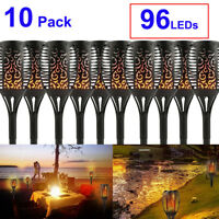 Large Waterproof Solar Path Garden 96 LED Torch Light Outdoor Flickering Flame