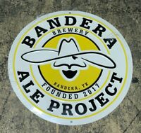 "Bandera Ale Project Brewery Brewing TACKER 12"" Round Tin Sign NEW Cowboy Logo"