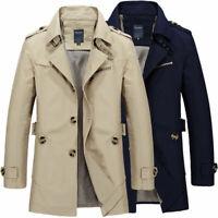 Men's New Slim Cotton Stylish Trench Coat Winter Mid-long Jacket Casual Overcoat