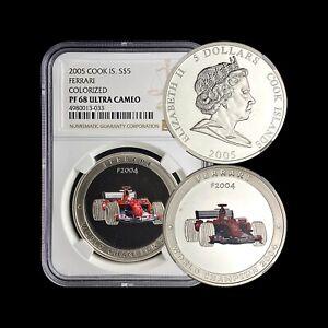 COOK ISLANDS. 5 Dollars, 2005, Silver - NGC PF68 - Ferrari F-2004.