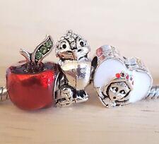 Disney SNOW WHITE 7 Dwarfs Heart Crystal Bird Red CZ Apple European Beads Charms