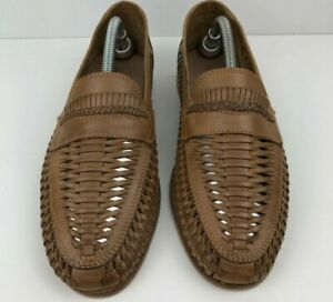 MENS RED HERRING UK8 SIZE 42 TAN WOVEN LEATHER SLIP ON LOAFERS SUMMER SHOES