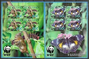 Aitutaki 2008 WWF Insects Butterfly Schmetterlinge Papillons 4 compl. sheets MNH