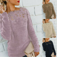 Women Casual Pullover Long Blouse Fluffy Sleeve Patchwork Jumper Sweater Tops