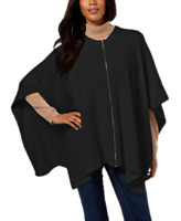 DKNY Womens One Size Fits Most Ribbed-Knit Front Zip Sweater Poncho Black $128