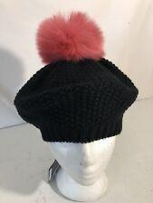 NWT Norla Canada OS Black/Rose Women's Oversized Knit Pom Pom Beret Beanie $58