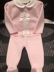 Spanish Knitted Baby Girls Romper Newborn to 3 3-6 Mths White Peter Pan Collar