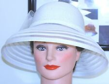 VINTAGE woman's HAT 1960 LARGE WHITE LAMPSHADE FEATHERS TULLE SEQUINS BOW 22""