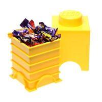 LEGO Storage Brick contenitore giallo o rosso 12.5x12.5x18 cm porta costruzioni