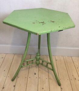 Vintage Bentwood Hexagonal Art Deco Side Lamp Bedside Cricket Table - Original