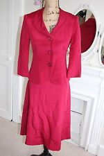 BNWT Hobbs Red 100% Silk Dress & Jacket Suit UK 8 Small XS 2-piece Smart XS