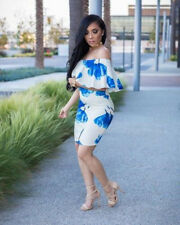 Women off shoulder ruffled bodycon club party floral print package hips dress