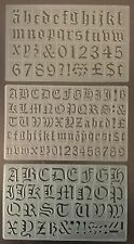 SET OF 3 STENCILS - 20, 30 mm OLD ENGLISH ALPHABET LETTERS STENCIL-1596,1605,10