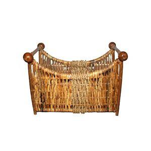 Vintage Handmade Woven Wicker Rattan Magazine Paper Rack Basket Boho Home Decor