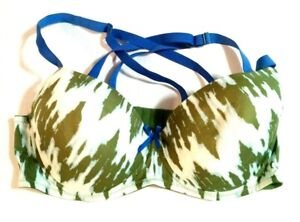 Joe Boxer Padded Push Up Bra Convertible Underwire 40C Green & Blue