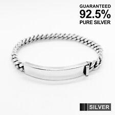 Dense Curb Chain Id Bracelet ✔�Solid✔�Uk Men's 925 Sterling Silver Vintage Heavy