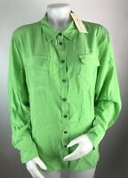 New Two Vince Camuto Women's Large Silk Button Down Shirt Green Long Sleeve Pock