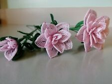 New 3 handmade French beaded Flowers rose Large medium small rose baby pink opal