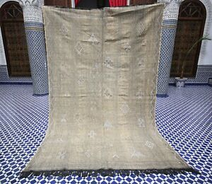 Large Moroccan Berber Sabra Silk Kilim Rug - Muted Brown - Tribal Design - 6 x 9