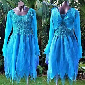 PLUS SIZE Fairy Dress Costume with Sleeves & Wings - AQUA & PURPLE