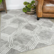 Grey Geometric Living Room Rugs Small Large Modern Area Rug Long Hallway Runners