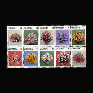Colombia, Sc #900a-j, MNH, 1982, Strip, Flowers, Birds, description, FHDD-C