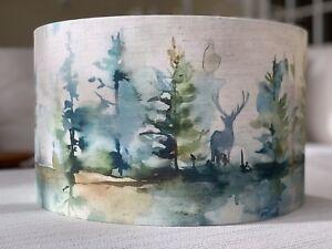 Handmade Lampshade Voyage Wilderness Fabric Topaz Highland Stag Woodland Trees