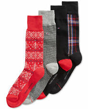 $47 TOMMY HILFIGER Mens 4 PAIRS PACK CREW DRESS SOCKS Black Red Cotton SHOE 7-12