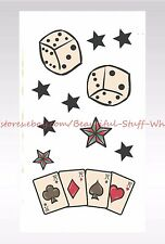 US SELLER- playing cards dice stars temporary tattoo cool fake tattoos