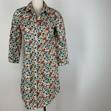 Theory Woman's western shirt dress floral pearl snap size 8 Cotton