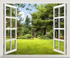 "Wall Mural -Beautiful Garden View out of the Open Window Wall Decor - 24""x32"""