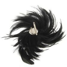 Black Feather Cocktail Corsage Brooch Pin Hair Clip New HOT I5Q5 B1A7