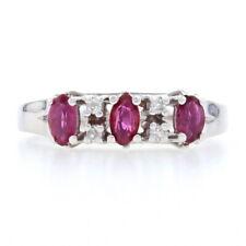 White Gold Ruby & Diamond Three-Stone Ring - 14k Marquise Brilliant Cut .54ctw