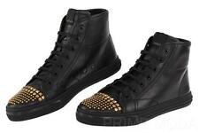 NEW GUCCI CALIFORNIA STUDDED BLACK LEATHER HIGH TOP SNEAKERS SHOES 39.5/US 9.5