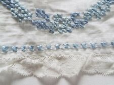 """Antique Window Pane Fabric Lace Trim Embroidered 66""""Doll Flounce Curtain Valance"""