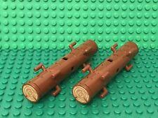 Lego X2 Reddish Brown Logs W/ 2x2 Round Tiles W/ Trunk Tree Stump On Both Ends