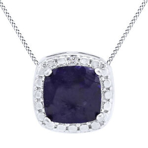 0.95 Ct Dyed Sapphire & Diamonds 18K White Gold Over Halo Necklace