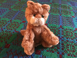 Vintage Russ Berrie 'Whiskers' Ginger Brown Kitten Cat Plush Soft Toy Beanie