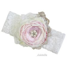 Baby Girl Cream Light Pink Pearl Rosette Lace Headband Hairband Hair Accessories