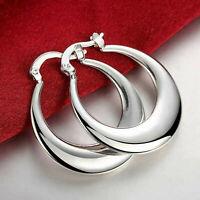 Womens  White Gold Plated Elegant Round Pierced Hoop Earrings