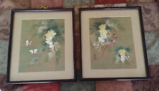 Lot Of 2 VTG Asian/Oriental  Paintings of Birds &Flowers Signed Oriental Script