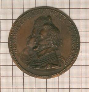 grand cliché uniface médaille aux bustes de Henri IV et Marie de Médicis