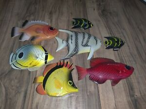 Wooden Hand Painted Fish Assorted Colors And Sizes Set Of 7 Count