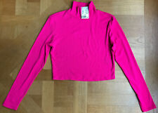 H&M Divided Crop,Turtle Neck,ribbed Long Sleeve Jersey Shocking Pink
