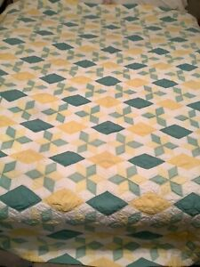 Vintage 6 Point Star Patchwork Cotton Handmade Quilt AMAZING CONDITION 84 x 83