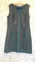 JOE BROWNS UK 14 BLUE GREY ZIGZAG ZIP UP FRONT DRESS WITH RIBBON BUTTON EMBLLISH