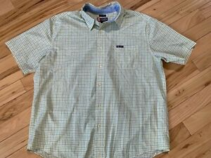 CHAPS Yellow Plaid Button Front Short Sleeve SHIRT Sz XXL Men Cotton/Poly Blend