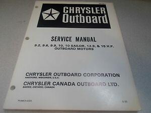 1982 Chrysler Outboard Service Manual 9.2 9.6 9.9 10 Sailor 12.9 15 HP OEM x