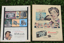 Wollensak & Revere Store Dealer Advertising Stereo 3d movie Camera Signs Mounted